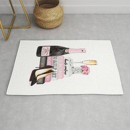 Champagne, pink, books, shoes, peonies, Peony, Fashion illustration, Fashion, Amanda Greenwood Rug