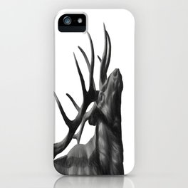 Elk in Black in White iPhone Case