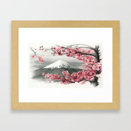 Mount Fuji and Cherry Blossoms Framed Art Print