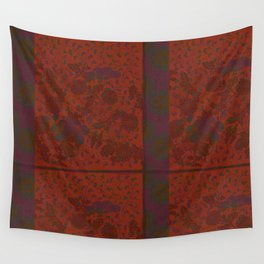 Caravans II:  Asian Print  Plum, gold, orange green origami textile floral design Wall Tapestry