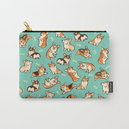 Jolly corgis in green Carry-All Pouch
