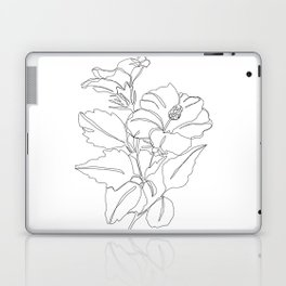Floral one line drawing - Hibiscus Laptop & iPad Skin