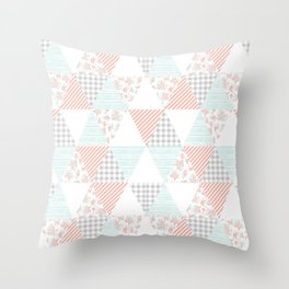Quilt nursery cheater quilt minimal floral camping pattern modern color palette Throw Pillow