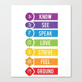 7 Seven Chakras Yoga Meditation T-shirt Canvas Print
