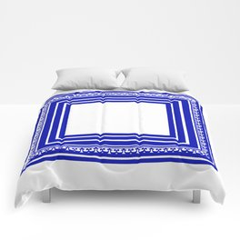 Blue and White Lines Geometric Abstract Pattern Comforters