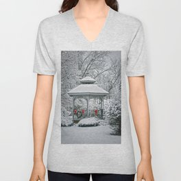 Gazebo in the Snow Unisex V-Neck