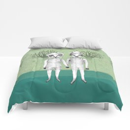 gymnast couple in the forest Comforters