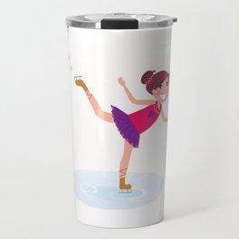 Ice skating little Girl : Original christmas Gift Travel Mug