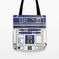 starwars Tote Bags featuring R2D2 - Starwars by Alex Patterson AKA frigopie76