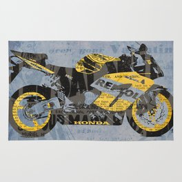 Honda Repsol newspaper collage, original art for men, gift for him, blue, yellow Rug