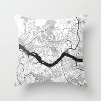 seoul Throw Pillows featuring Seoul Map Gray by City Art Posters