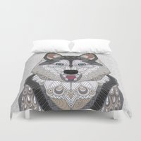 husky Duvet Covers featuring Happy Husky by ArtLovePassion