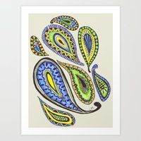 paisley Art Prints featuring Paisley by Laura Maxwell