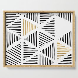 Simple Geometric Zig Zag Pattern - Black Gold White - Mix & Match with Simplicity of life Serving Tray