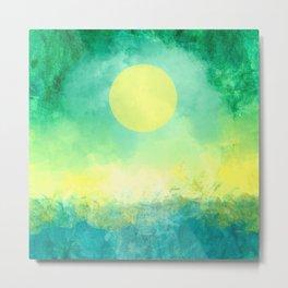 Yellow Moon, Emerald Sky, Blue Water Metal Print