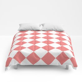 Large Diamonds - White and Coral Pink Comforters