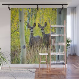 Double Take - Pair of Young Mule Deer Hiding in Autumn Aspens Wall Mural