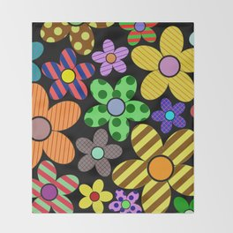 Funky Flowery Pattern - Abstract, Retro Design Throw Blanket