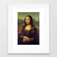 mona lisa Framed Art Prints featuring Mona Lisa by Leonardo da Vinci by Palazzo Art Gallery