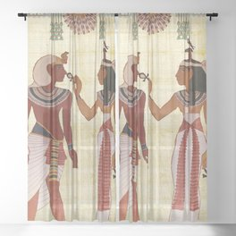 egyptian design man woman priest Sheer Curtain