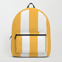 Chickadee orange - solid color - white vertical lines pattern Backpack