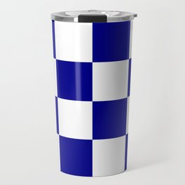Large Checkered - White and Dark Blue Travel Mug