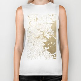 Boston White and Gold Map Biker Tank
