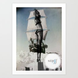 Boat/Girl/Stuff Art Print