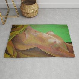 Young Beautiful Nude Woman Reclining In Sheets Rug