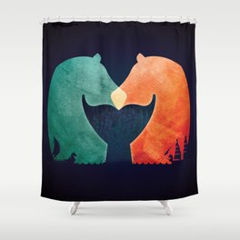 A Tail of Two Horses Shower Curtain