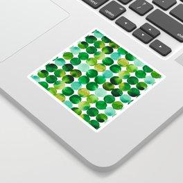 Green Watercolor Circles Pattern Sticker