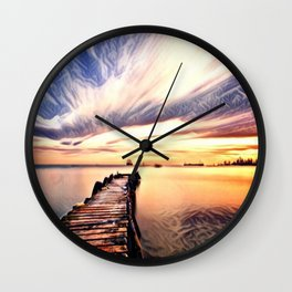 Dock over Water (Sunset Lake) Wall Clock