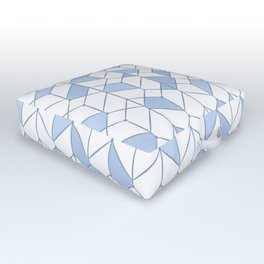 Geometric white, blue pattern. Outdoor Floor Cushion