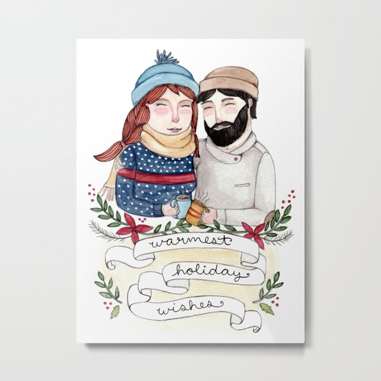Warmest Holiday Wishes Metal Print