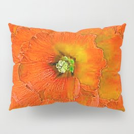 ORANGE DOUBLE  HOLLYHOCK FLOWERS YELLOW GARDEN Pillow Sham