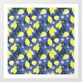 Lemons on Blue Art Print