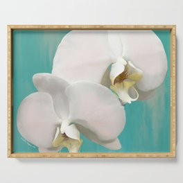 WHITE ORCHIDS - AQUA Serving Tray
