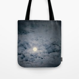 Full Moon with clouds at Night, Dramatic clouds in the moonlight Tote Bag