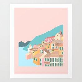 Pastel Cinque Terre Art Print