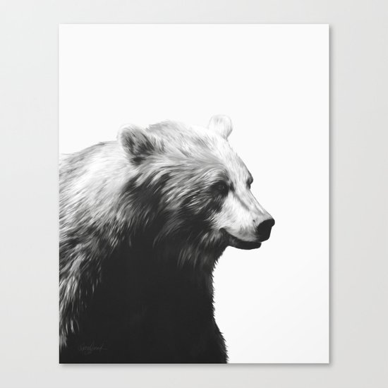 Bear // Calm (Black + White) Canvas Print