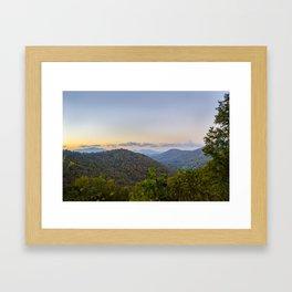Sleepy valley town Framed Art Print
