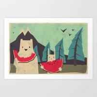 freeminds Art Prints featuring I want moaarrr! by Yetiland
