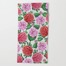 Camellia and Peonia pattern Beach Towel