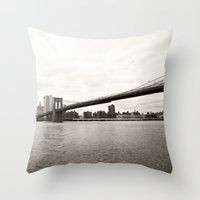 brooklyn bridge Throw Pillows featuring Brooklyn Bridge by Caroline Mint
