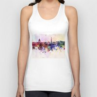 washington dc Tank Tops featuring Washington DC skyline in watercolor background  by Paulrommer