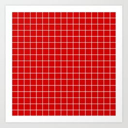 Rosso corsa - red color - White Lines Grid Pattern Art Print