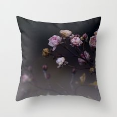 Delicate Dried Pink Mini Roses on Smoky Dark Grey Throw Pillow