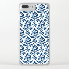 Feuille Damask Pattern Dark Blue on White Clear iPhone Case