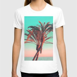 Paradise   modern pink turquoise tropical palm tree beach sea summer photography T-shirt