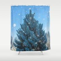 christmas tree Shower Curtains featuring Christmas tree  by Svetlana Korneliuk